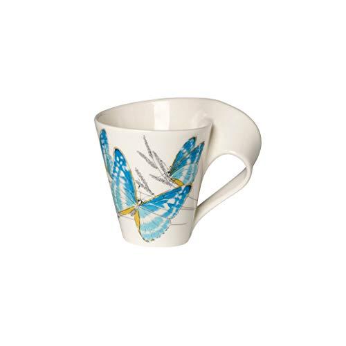 Villeroy & Boch NewWave Caffè Taza de café 'Mariposa de muso', 300 ml, Altura: 11 cm, Porcelana Premium, Azul
