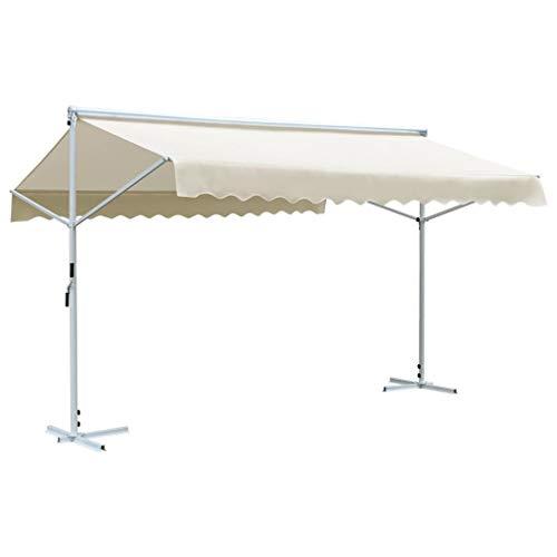 vidaXL Free Standing Awning Terrace Canopies Garden Sunshades Tarp Panel Rain Shelter Garden Roof UV Resistant Weatherproof 4x3m Cream