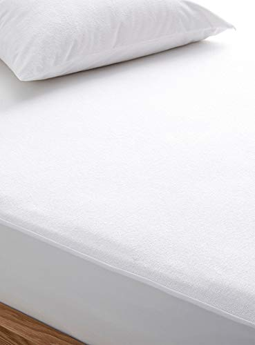 COMFORTESY Waterproof Terry Towel Mattress Protector - 30cm Deep Mattress Protection Cover| Soft Non-Noisy Breathable Hypoallergenic | (Double)