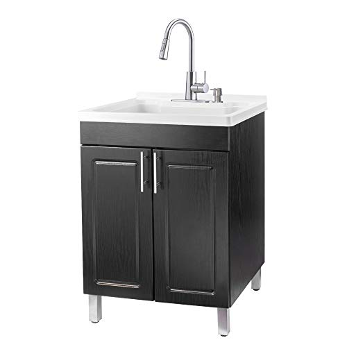 Tehila Utility Sink Black Vanity, Stainless High-Arc Pull-Down Sprayer Faucet, Soap Dispenser and Spacious Cabinet by JS Jackson Supplies