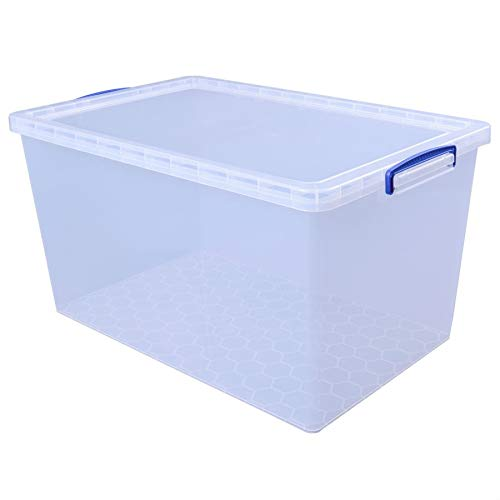Really Useful Box 3 x 83 Liter Nestable Box mit Deckel - 440 x 700 x 370 mm - transparent