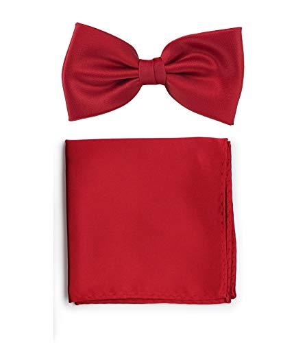 PUCCINI Uni Fliegen Set mit Einstecktuch│einfarbiges Set mit Herrenfliege (Fliege, Bow Tie) und Einstecktuch in: Rot (Kirschrot)