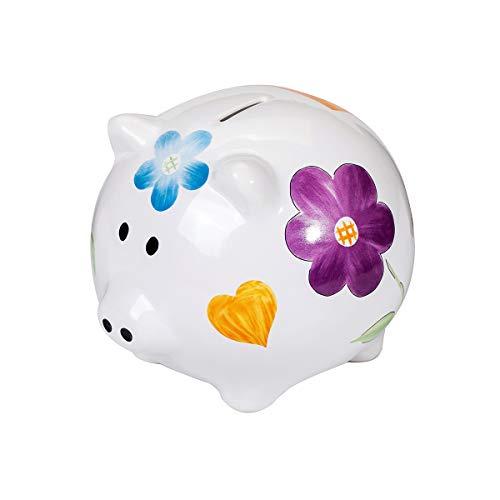 COMPANY SPOTTED DOG GIFT groot spaarvarken XXL spaarpot wit keramiek varken spaarvarken met kleurrijke bloemen voor meisjes volwassenen tieners kinderen geschenk met doos