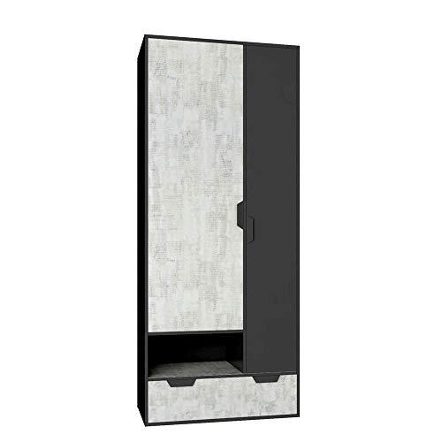 Furniture24 Kleiderschrank Nano NA2 Schrank 2 Türiger Drehtürenschrank 6 Einlegeboden 1 Schubkästen Kleiderstange