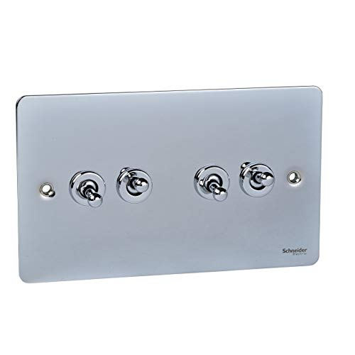 Schneider Electric Ultimate Flat Plate - 4 Gang Toggle 2 Way Light Switch, 16AX, GU1242TPC, Polished Chrome