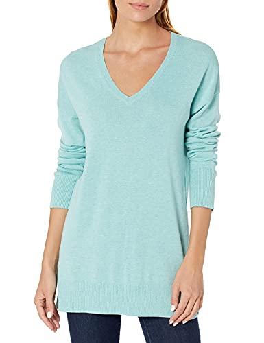 Amazon Essentials Women's Lightweight Long-Sleeve V-Neck Tunic Sweater, Aqua Heather, Medium