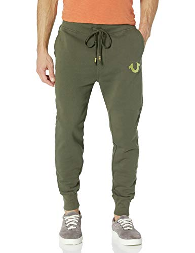True Religion Herren Metallic Buddha Fleece Runner Pant2 Jogginghose, Militärgrün/goldfarbener Druck, Klein