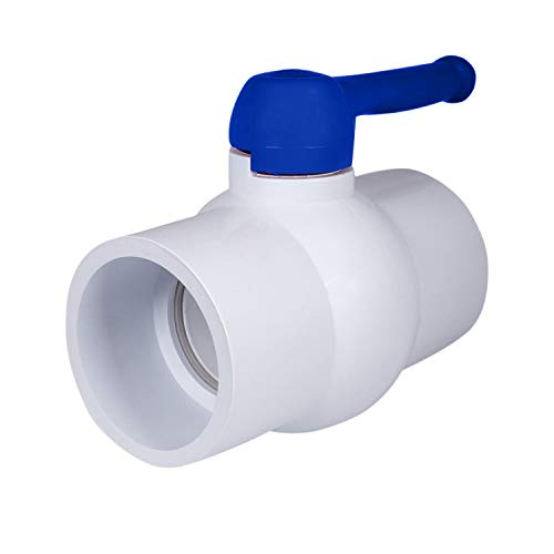 Midline Valve PVC Ball Valve Blue T-Handle for Potable Water 3 in. Solvent Connections White Plastic (487T300)