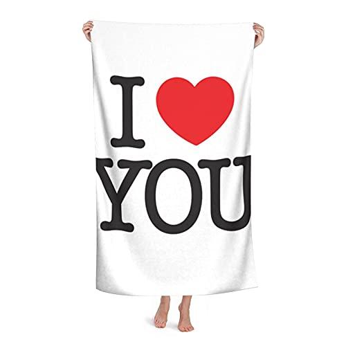Toallas de Playa I Love You Toallas de Fibra extrafina 100% Secado rápido Altamente Absorbente para Uso Diario Gimnasio Playa Natación Baño SPA 32 'x52'