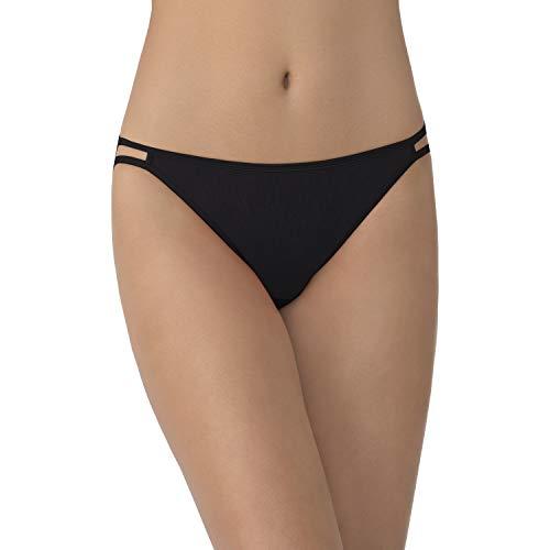 Vanity Fair Women's Illumination String Bikini Panties (Regular & Plus Size), Midnight Black, 6