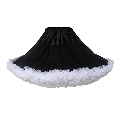 Women's Elastic Waist Chiffon Petticoat Puffy Tutu Tulle Skirt Princess Ballet Dance Pettiskirts Underskirt