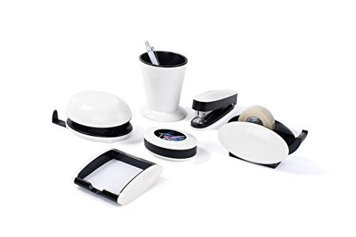 Pavo Trendy Schreibtisch-Set, 6-teilig - Hochglanz mit Stifteköcher, Klammernspender, Locher, Heftgerät, Zettelbox und Tischabrolle, weiß