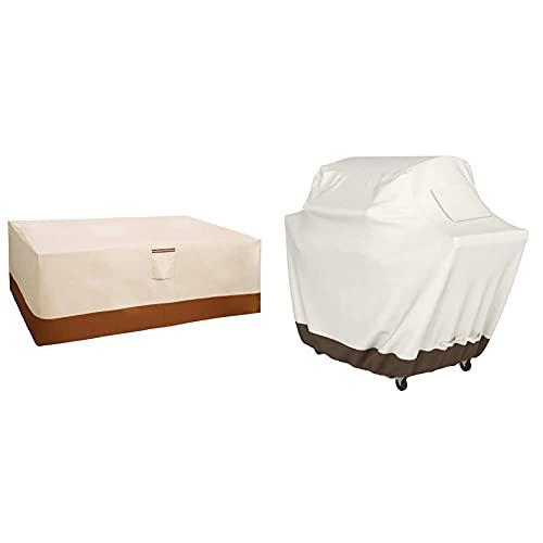 Songmics 600D Oxford Funda Protectora para Muebles De Jardín, 240 X 140 X 90 Cm, para Mesas Y Sillas De Patio + Amazon Basics Funda Protectora para Barbacoa (Tamaño Mediano)