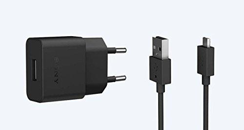Original Sony Mobile Ladekabel Schwarz für Sony Xperia XZ2 Compact UCH20 + UCB20 Netzteil Ladegerät Aufladegerät USB Typ-C Aufladekabel Charger + gratis Bildschirm Reinigungspad