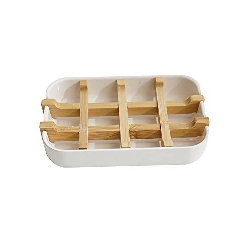 Seifenschale, Natürlicher Bambus Holz Seifenhalte mit Abtropfwanne, Umweltfreundlich Seifenkiste für Bad Dusche Küche, Nachhaltigen Handgefertigte Seifenkiste Seifen Box Badaccessoire Baddeko, Weiß