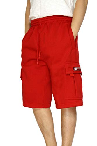 DREAM USA Men's Heavyweight Fleece Cargo Shorts, Red, Large