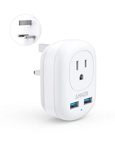 Anker UK Travel Adapter, PowerExtend USB Plug International Power Adapter with 2 USB and 1 Outlet, US to British England Scotland Ireland London Hong Kong