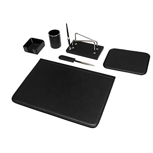 Maruse, juego de escritorio de piel de 6piezas, negro