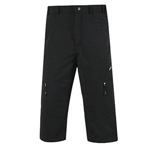 emansmoer Hommes Ample Outdoor Casual Cyclisme Randonnée 3/4 Capri Pantalon Séchage Rapide Sports Voyage Shorts Respirant Court Pantalon Jogging Camping (L, Noir)