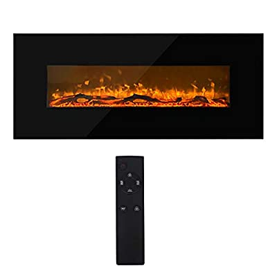 OUNUO 1000W/2000W Electric Fireplace Wall Mounted Electrical Fire fires and fireplaces, LED Lighting, 7 Flame Colors, Remote Control, Black