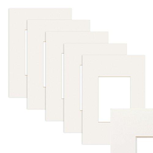 PHOTOLINI 5X Passepartout Weiß 50x70 cm (40x50 cm)