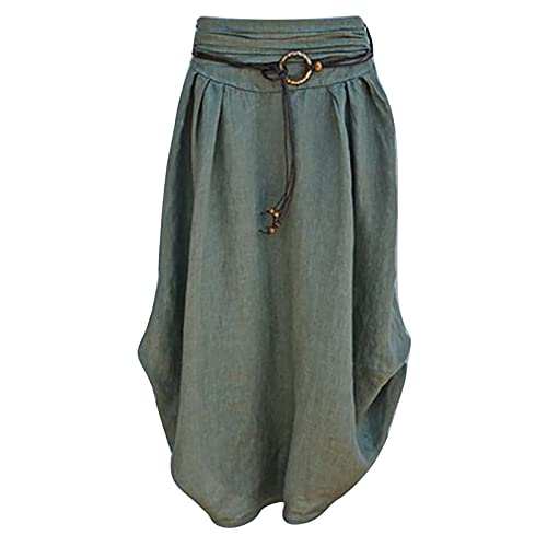 Sinzelimin Women's Maxi Dress Cotton Linen Skirts Global Map Printed Loose Asymmetrical Hem Mid-Calf Skirt with Sashes Army Green