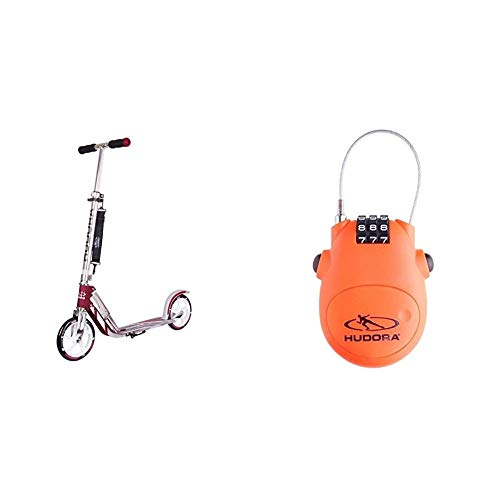 HUDORA 14764/01 BigWheel 205-Das Original mit RX Pro Technologie-Tret-Roller klappbar-City-Scooter, Magenta/Silber & Kabel-Schloss Fahrrad Scooter, Zahlenschloss, 14492