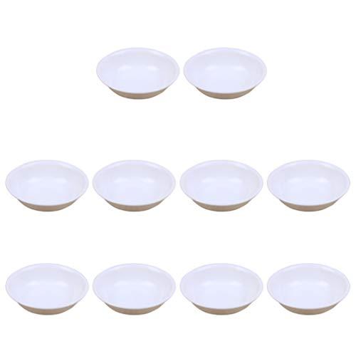 Bestonzon - Piatti in plastica per salse, piattini, antipasti, confezione da 20 pezzi, colore: bianco
