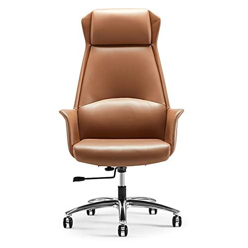 YWJPJ. Büro-Spielstuhl, Hebender Und Drehbarer Bürostuhl, 90 Bis 130° Verstellbare Rückenlehne, Leises PU-Wickelrad,Braun