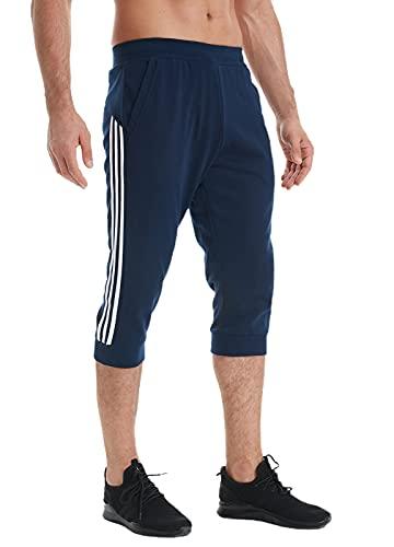 HTB Men's Workout Training Capri Pants Summer Sweat 3/4 Track Shorts Pants Color Block Below Knee Length(Blue,US XL)