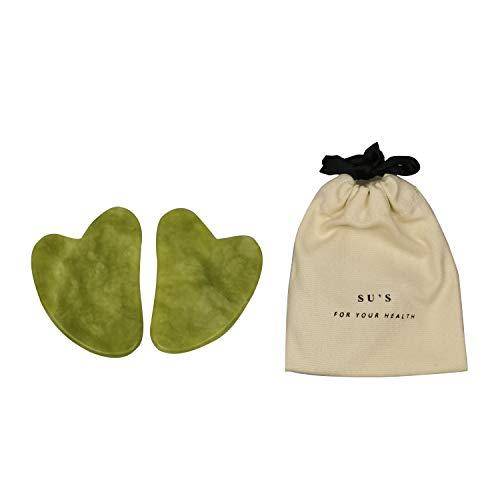 SU'S Piedra de jade natural Set de masaje Gua Sha para