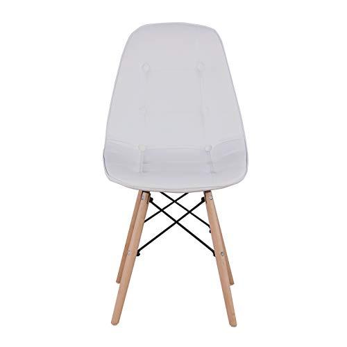 MeillAcc Un set di 4 sedie da pranzo in pelle PU, struttura in metallo robusta e piedini in legno di faggio, cucina sala da pranzo (bianco/nero/grigio/marrone) (bianco)
