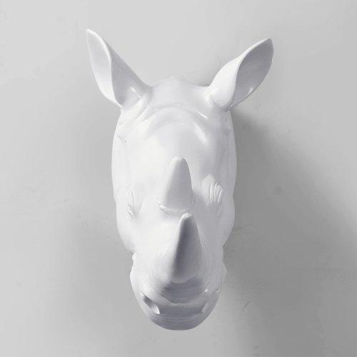 Style européen créatif Animal tête décorations murales Pendentif cerf tête Antler Tenture Murale Maison Salon Bar Ornement Pendentif, Rhinocéros (Blanc)