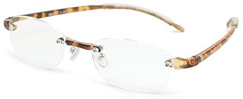 デューク 老眼鏡 +1.5 度数 縁なし エアフォルクカラーズ 形態安定樹脂フレーム ソフトケース付き ブラウンデミ DR-37-3+1.50