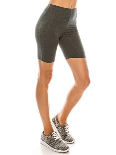 EttelLut Running Athletic Yoga Walking Bike 7  Cotton Leggings Running Shorts for Women Charcoal XL
