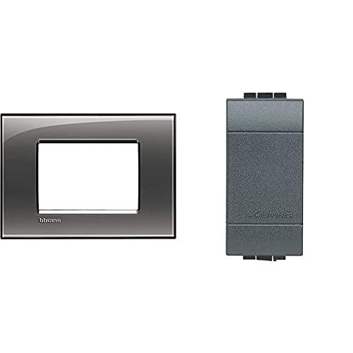 BTicino Livinglight Placca, 3 Moduli, Forma Rettangolare, Grigio (Fumo Di Londra) & Livinglight Copriforo, 2 Pezzi, Antracite