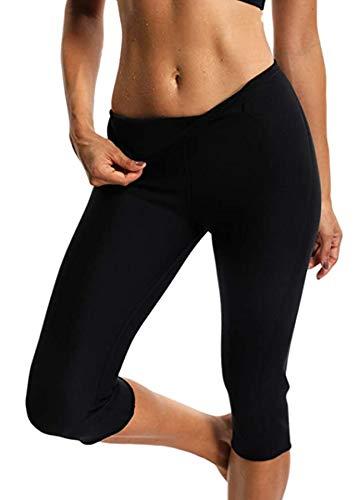 STARBILD Leggins Deportivas para Mujer para Adelgazar Leggins Anticeluliticos Mallas Termicos de Neopreno Fitness Deporte Correr Yoga Pantalón de Sudoración Adelgazantes Corto Negro XL