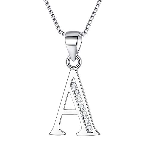 Clearine Women 925 Sterling Silver Cubic Zirconia 26 Letters Alphabet Personalized Charm Pendant Necklace'A'