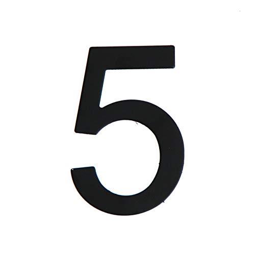 Número de calle en acero inoxidable negro mate, con dorso adhesivo, con una altura de 76 mm, número de casa, diseño de puerta (5)