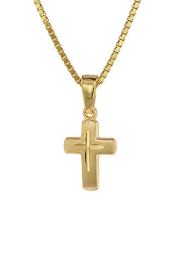 trendor Kreuz-Anhänger für Kinder Gold 585 (14 Kt.) + Plattierte Kette Kinder Halskette, Gold Kreuz Anhänger für Jungen und Mädchen, Geschenkidee 75273