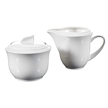 Malacasa, Series Carina, 3-Piece Ivory White Porcelain Sugar and Creamer Serving Set
