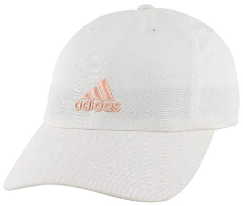 adidas Women's Saturday Relaxed Adjustable Cap, White/Haze Coral, ONE SIZE