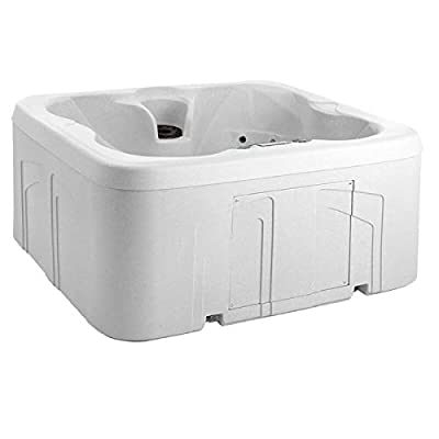 LIFE SMART 4 Person Energy Efficient Plug & Play Square Backyard Hot Tub Spa with 13 Jets, LED Light, and Cover