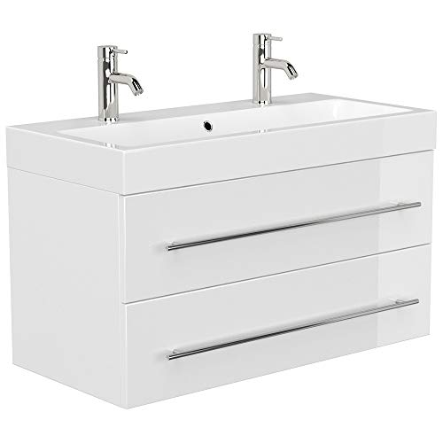 Lomadox Badezimmer Doppel-Waschtisch aus Mineralguss Breite 100cm in weiß Hochglanz Badmöbel