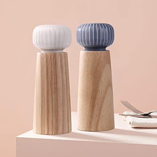 HAIPUSEN Molinillo de Sal y Pimienta de Madera y Cerámica - Pimentero Molino de Especias con Amoladora Ajustable, 17,5cm