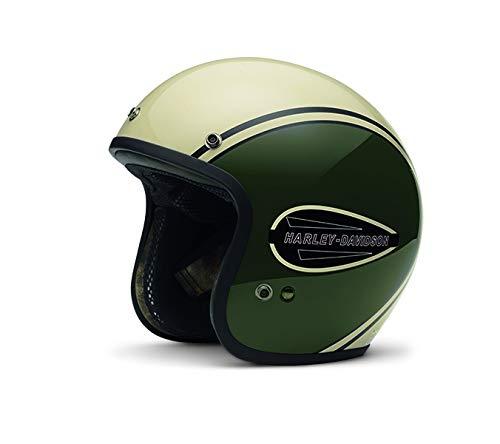 Harley-Davidson Classic Retro Tank 3/4 Helmet, Olive Green/Off-White, L