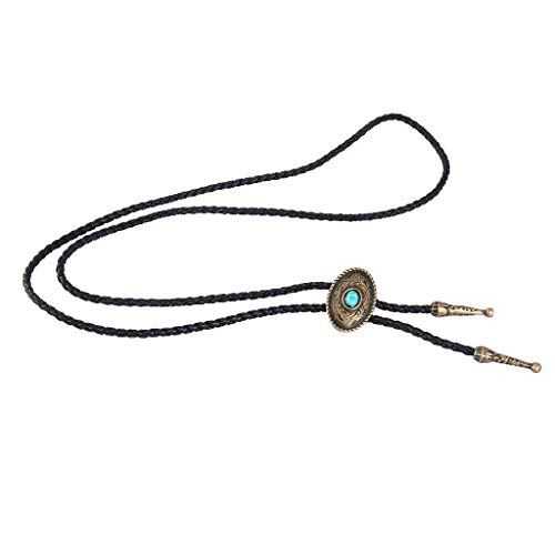 freneci Aleación de Estilo Antiguo Tallada Bola Tie Corbata para Hombre Collar de Vaquero Regalos Frescos - Bronce