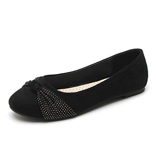 KeBuLe Women s Comfortable Slip-on Bow Ballet Round Toe Shoes Fashionable Flats for Walking Black US Size 10