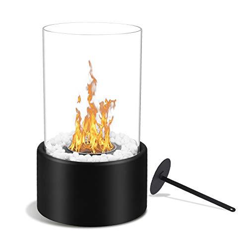 BMOT Tischkamin mit Löschstempel und Dekosteinen, Bio Ethanol Kamin, Edler Dekofeuer Tischfeuer, Luxuskamin, Glaskamin für Innen und Außen