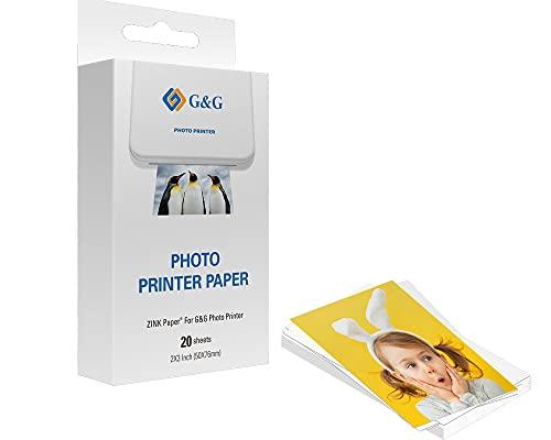 """G&G ZINK Papier für G&G Photo Printer selbstklebende Fotopapiere, Sticker, (5 x 7,6 cm) (20 Stück) auch passend für HP Sprocket, Canon Zoemini und weitere ZINK Drucker, 2x3\"""" Fotodrucke"""